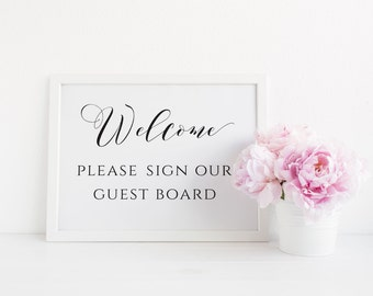 Welcome Guest Board Sign, Welcome Please Sign Our Guest Board Printable, Wedding Welcome Sign, Wedding Guestbook Sign, Instant Download. WC3