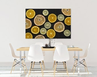 citrus v. two // food photography print // kitchen decor // dining room // canvas art // canvas print // rustic farmhouse wall art