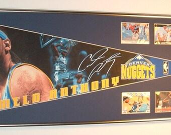 Vintage NBA Denver Nuggets Carmelo Anthony Pennant & Cards...Custom Framed!!!