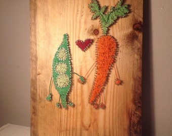 Carrot and peas in love, nail and string art