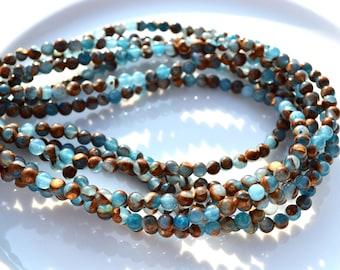 Blue Jasper 4mm ROund Beads  FULL STRAND