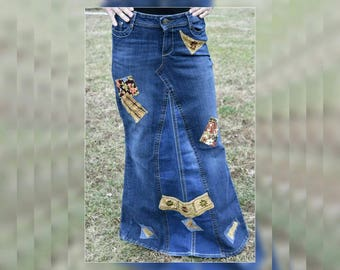 Denim Jean Maxi Skirt, OOAK Upcycled Redesigned Recycled Woman Hippie Skirt, Refashioned Embroidered Full Length Festival Boho Skirt, Size 9