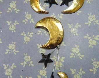Vintage Gold and Black Moon and Stars Brooch and Earring Set - BR-526 - Moon and Stars Demi Parure