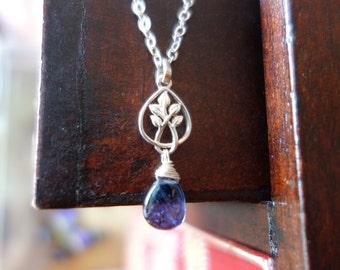 Silver blue iolite drop leaf pendant necklace