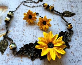 Sunflower necklace, summer necklace, polymer clay flowers, handmade jewelry, sunflowers jewellery set, Spring Jewelry, Floral Necklace
