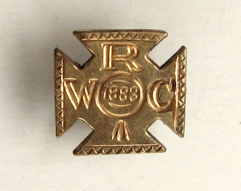 Womens' Relief Corp Small Maltese Cross Gold Toned Pin