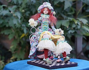 One Of A Kind art doll (OOAK), hand made by using Flumo circus collection clown doll