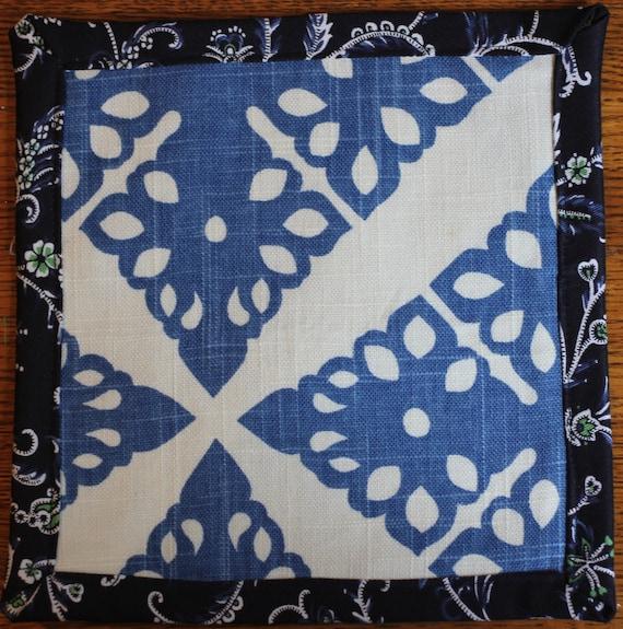 Fabric Trivet / Mug Mat Blue pattern