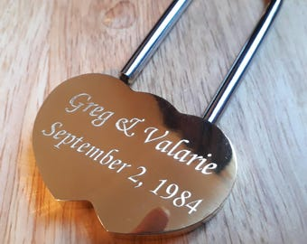 Engraved Solid Brass LoveLock/ Love Lock Personalised Padlock (Large - 60mm)