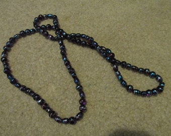 Purple and blue with silver swirl beaded necklace