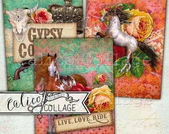 Printable, Gypsy Cowgirl, Gift Tags, Decoupage Paper, Digital, Scrapbooking, Journal Cards, Junk Journal, Horses, Cowgirl, Ephemera Pack