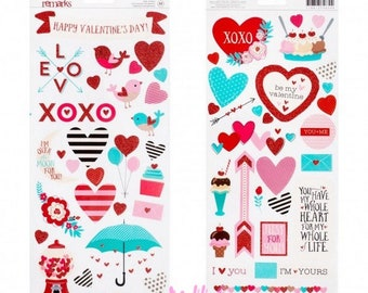 Set of 2 packages stickers Valentine American ideal stickers crafts, scrapbooking or cardmaking projects (ref.210). *.