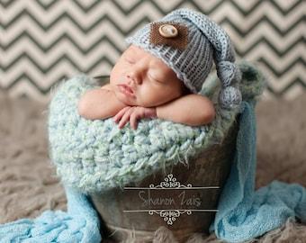 Baby Blue Burlap Newborn Knit Hat Photography Prop