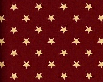 Dunroven House H-31000 Red w/ Ecru Star Fabric 1/2 Yd Cut Off The Bolt
