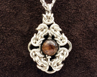 Byzantine Eye Chainmail Pendant in Sterling Silver