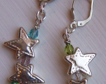 Puff stars of irregular shape, colorful stones on sterling lever back ear wires