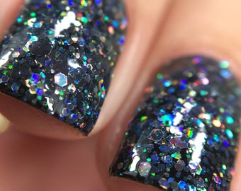 Kneel Before Zod Nail Polish - holographic black glitter bomb