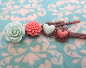 Holida flower bobby pin with holiday gift tag -coral dhalia , mint  and corall heart, peach rose bobby pin 4pcs chose your own