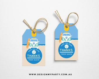 Vintage Beach Kombi Surf Thank You Lolly Bag Party Tags (DIY Printables)