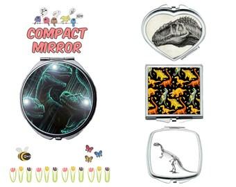 dinosaur compact mirror, makeup mirror, cosmetic mirror, portable mirror, double sided compact makeup mirror, purse mirror