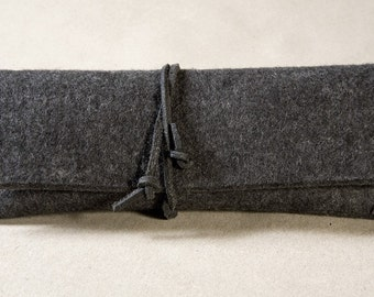 Grey German Wool Felt Eye Glass and Pencil Case