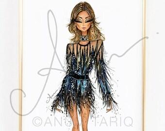 Fashion Illustration Print, Elie Saab Spring 17