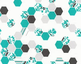 Robert Kaufman Fabrics - Palm Canyon by Violet Craft - Teal Hex Patterns - Modern Maker Box