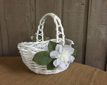 Flower girl basket/white wedding basket/ program basket/ favor basket/ vintage basket/ vintage wedding basket/ rustic wedding basket/ basket