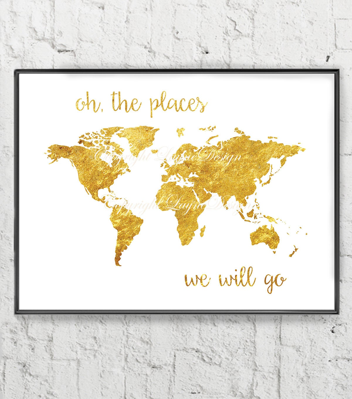Faux Gold Leaf Traveling Saying Quote Print Your Own Instant