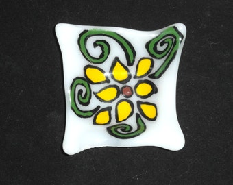 Small Fused glass dish - handpainted floral motif Fused Glass- candle holder - Decorative Bowl- Dresser Caddy - organic square