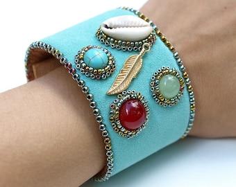 SALE 30% OFF// Mermaid's Treasure Leather Bracelet-Turquoise Leather Cuff-Gemstones Bohemian Bracelet-Leather Bracelet-Simple Bracelet-Boho