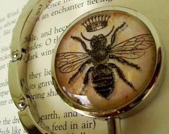 Steampunk Bag Hanger (H45) - Purse Hook - Vintage Bumble Bee Artwork Under Glass