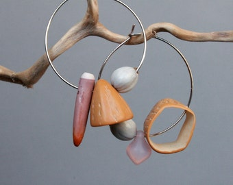 mismatched hoop earrings with sea urchin and natural seeds - eco friendly jewelry - ethnic earrings