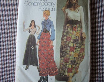 vintage 1970s simplicity sewing pattern 9616 misses evening skirt blouse and top size 10