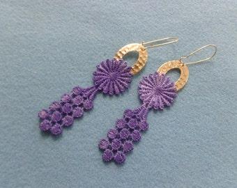 Purple lace earrings, dangle earrings, purple flower earrings, long gold earrings