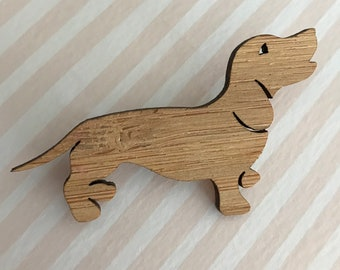 Laser Cut Bamboo Dachshund Brooch