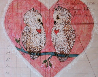 Art Print - Owl Couple - Pair - Pen and Ink Colored Pencil - Heart - Gift for Couple - Wedding Gift - Anniversary Gift - Love Birds