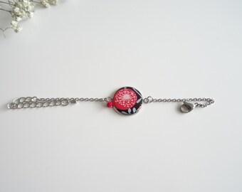 Red and black flower bracelet resin