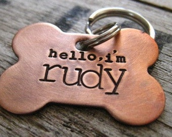 Hand Stamped Dog Bone Pet ID Tag - Personalized Pet/Dog Tag - Dog Collar Tag - Engraved Dog Tag - Handsatmped Pet Tag - Copper  Dog Tag