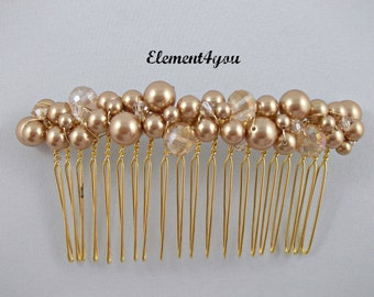 Bridal comb,  Gold pearl hair comb, Hair Accessories, Wedding hair piece, Beaded champagne gold comb, Veil attachment , Fascinator