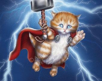 Kitten Thor - 8x10 art print - kitten Thor flying with his hammer