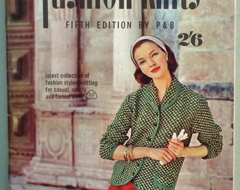 Vintage Knitting Patterns Book 1950s 1960s  Fashion Knits Fifth Edition by P&B womens sweaters jumpers cardigans dress original patterns