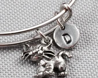 Cat bangle bracelet, cat bracelet, animal jewelry, personalized bracelet, initial bracelet, kitty bracelet, cat charm bracelet, animal
