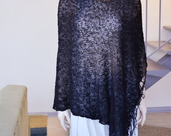 Black Knit Rayon Cotton Spring Poncho w Fringes