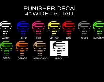 Custom American Flag PUNISH SKULL Decal sticker