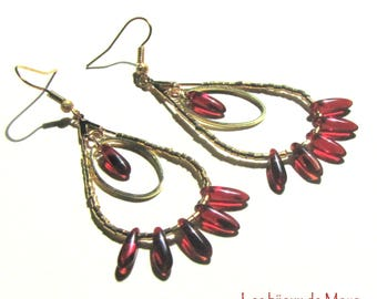 glass and metal, red and gold earrings