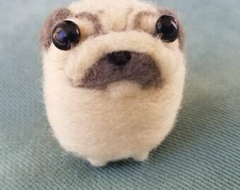 Pug dog needle felted pet
