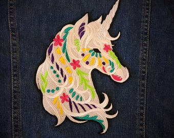 Large unicorn back patch, sew on patch, iron on patch, unicorn patch, magical patch, kawaii patch.