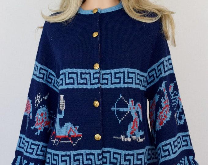 Vintage 2 Piece 1970's Women's ZoDiaC AsTroLoGY HiPPiE BoHo AsTrOloGicaL Knit Sweater & Pants Rock Star Outfit Size S M