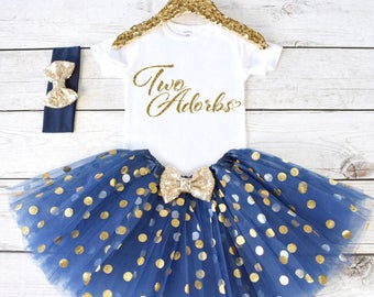Two Adorbs. 2nd Birthday Outfit. Girls Birthday Outfit. Birthday Shirt. Birthday Tutu Outfit. Birthday Girl. 2nd birthday S1 2BD (NAVY)